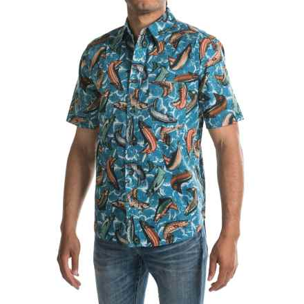 Woolrich Walnut Run Printed Shirt - Short Sleeve (For Men) in Tidal Wave - Closeouts