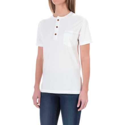 Woolrich Wax and Wool Henley Shirt - Short Sleeve (For Women) in Natural - Closeouts
