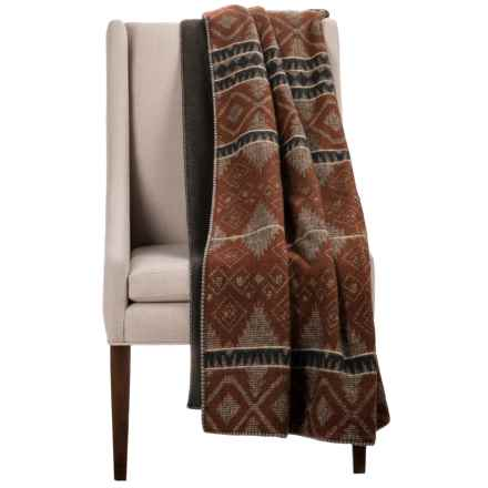 "Woolrich Wellsboro Sherpa Wool Throw Blanket - 50x68"", Sherpa Fleece Backing in Brown - Closeouts"