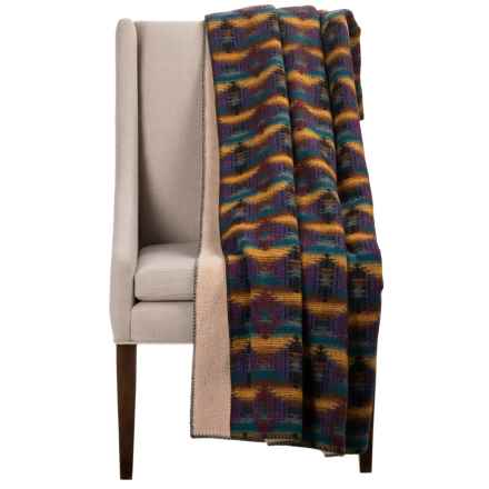 "Woolrich Wellsboro Sherpa Wool Throw Blanket - 50x68"", Sherpa Fleece Backing in Multi - Closeouts"
