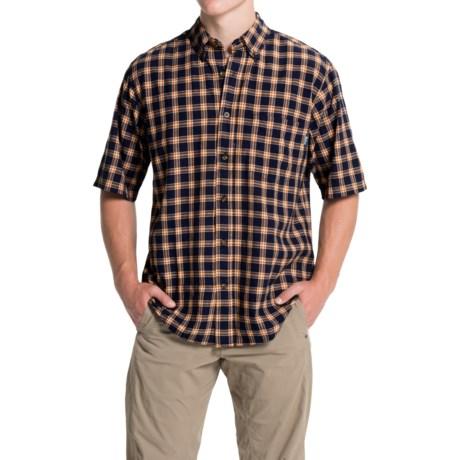 Woolrich Weyland Plaid Shirt - Short Sleeve (For Men) in Deep Indigo