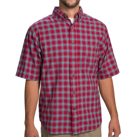 Woolrich Weyland Plaid Shirt - Short Sleeve (For Men) in Red Currant