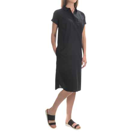 Woolrich White Label Camp Shirt Midi Dress - Short Sleeve (For Women) in Black - Closeouts