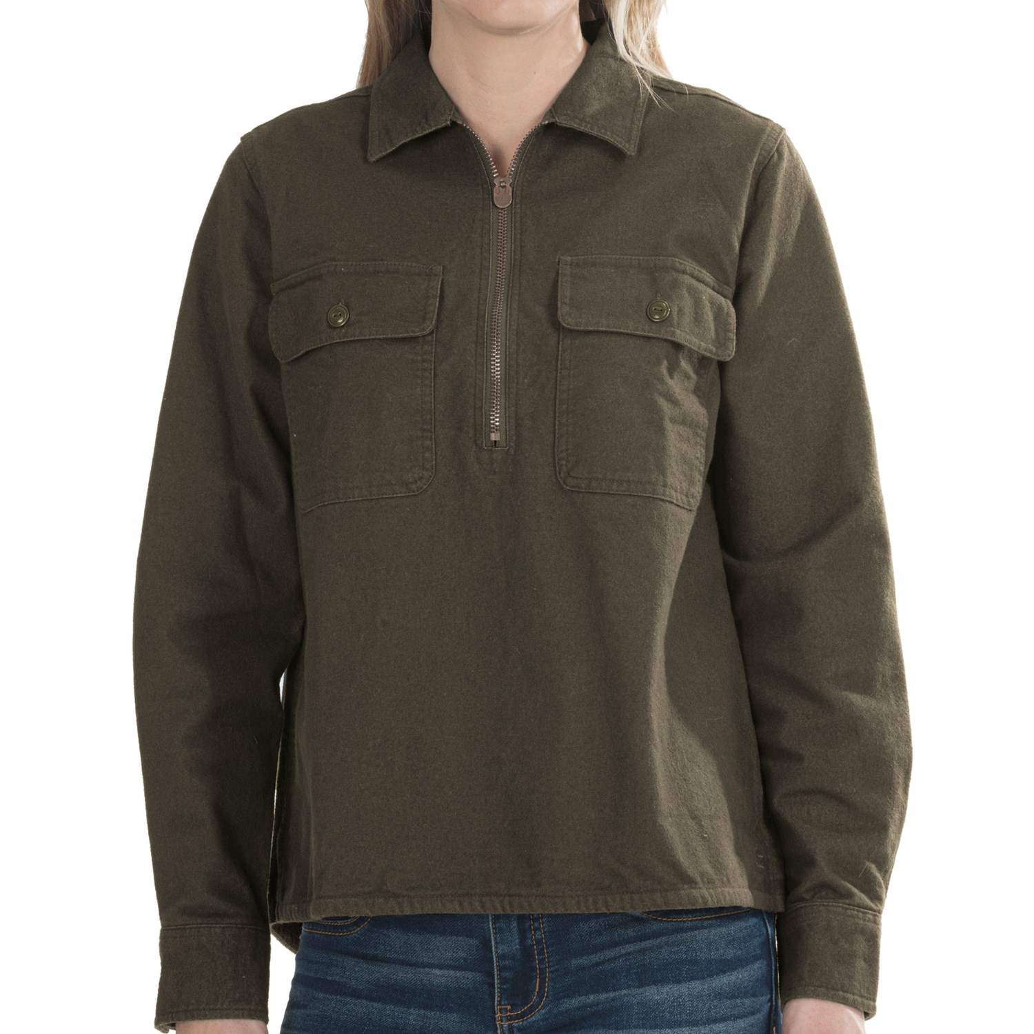 Woolrich White Label Chamois Zip Shirt - Long Sleeve (For ...