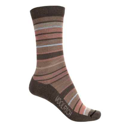 Woolrich Wide-Stripe Socks - Merino Wool, Crew (For Women) in Chocolate - Closeouts