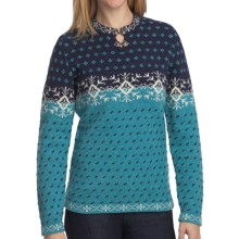 Woolrich Willow Grove Sweater - Lambswool Jacquard (For Women) in Marine Multi - Closeouts