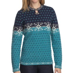 Woolrich Willow Grove Sweater - Lambswool Jacquard (For Women) in Marine Multi