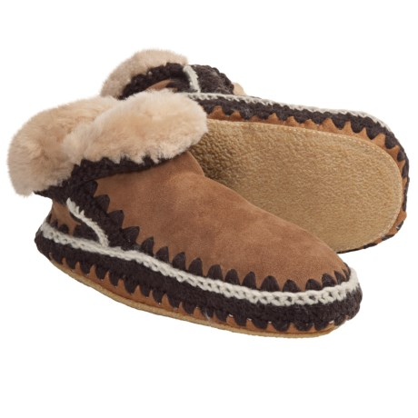 Woolrich Winter Haven Boot Slippers - Suede, Shearling Lining (For Women) in Chestnut