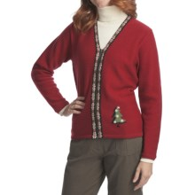 Woolrich Winter Tree Cardigan Sweater - Boiled Wool (For Women) in Ruby - Closeouts