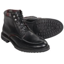 Woolrich Woodwright Leather Boots (For Men) in Black/Plaid Wool - Closeouts