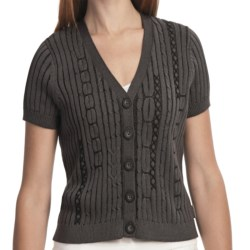 Woolrich Youngwood Cardigan - Cable Knit, Cotton, Short Sleeve (For Women) in Black