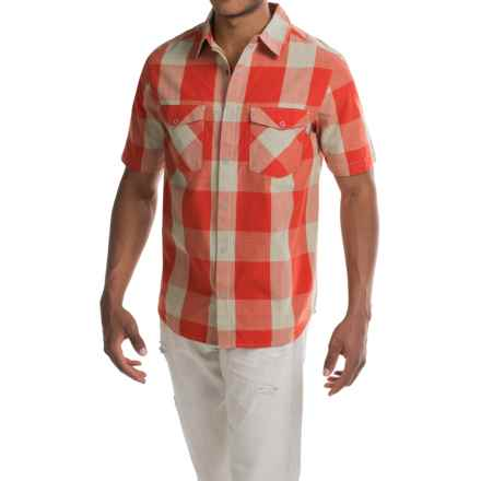 Woolrich Zephyr Ridge Space-Dyed Check Shirt - Short Sleeve (For Men) in Flash Red - Closeouts