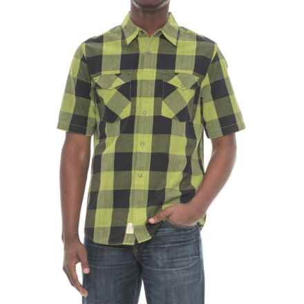 Woolrich Zephyr Ridge Space-Dyed Check Shirt - Short Sleeve (For Men) in Leaf Green - Overstock