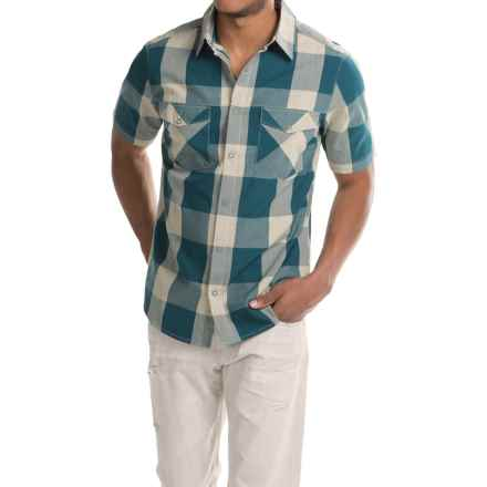Woolrich Zephyr Ridge Space-Dyed Check Shirt - Short Sleeve (For Men) in Nordic Blue - Closeouts