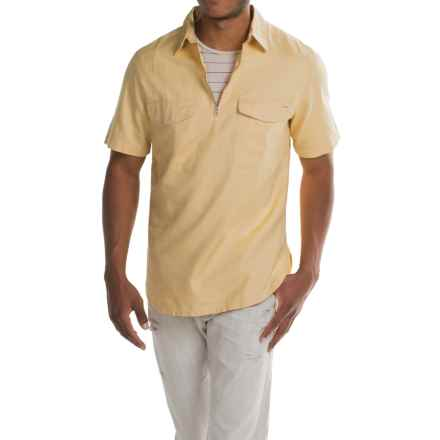 Woolrich Zip Neck Popover Shirt - Cotton-Linen, Short Sleeve (For Men) in Chamois - Closeouts