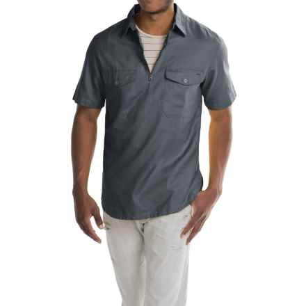 Woolrich Zip Neck Popover Shirt - Cotton-Linen, Short Sleeve (For Men) in Graphite - Closeouts
