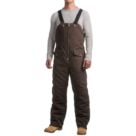 Work Horse Washed Bib Overalls - Insulated (For Men) in Chocolate