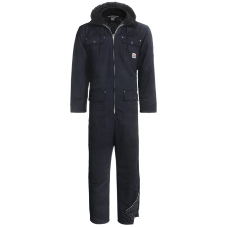 Work King Heavy-Duty Twill Coveralls - Insulated, Side Zips, Removable Hood (For Big and Tall Men) in Black