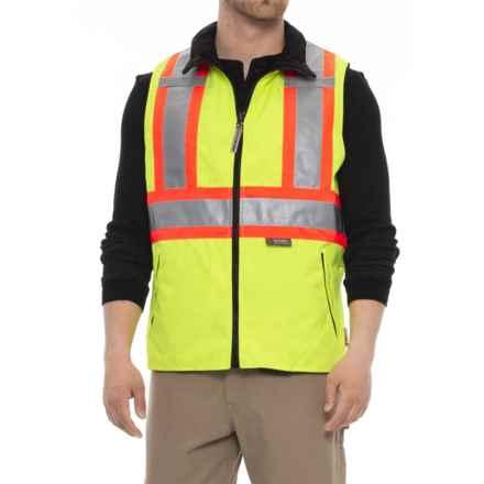 Work King Hi-Vis Vest - Reversible (For Men) in Flourescent Green - Closeouts