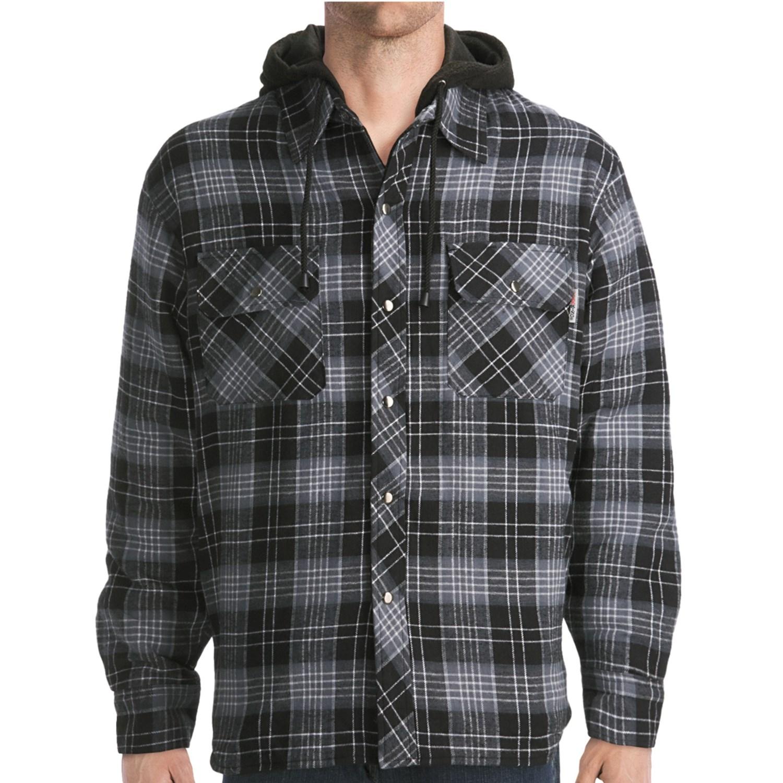 Work King Hooded Flannel Shirt Fleece Lined Long Sleeve