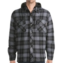Work King Hooded Flannel Shirt - Fleece Lined, Long Sleeve (For Men) in Black/Grey/White - Closeouts