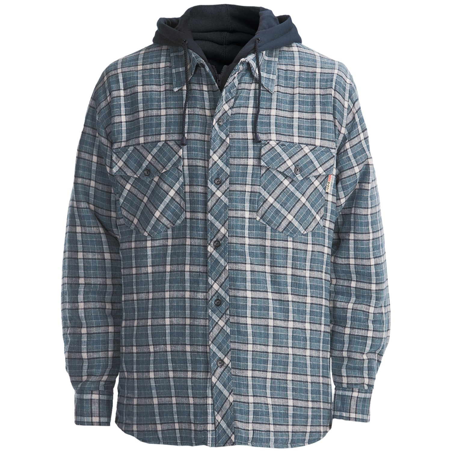 Work King Hooded Flannel Shirt Quilt Lined Long Sleeve