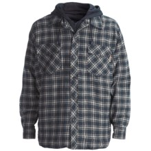 Work King Hooded Flannel Shirt - Quilt-Lined, Long Sleeve (For Men) in Navy/White/Olive - Closeouts