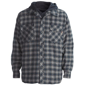 Work King Hooded Flannel Shirt - Quilt-Lined, Long Sleeve (For Men) in Navy/White/Olive