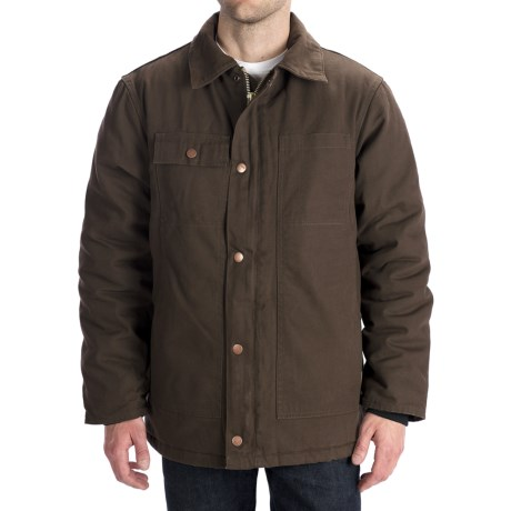 Work King Washed Canvas Parka - Hooded, Insulated  For Men) in Chestnut