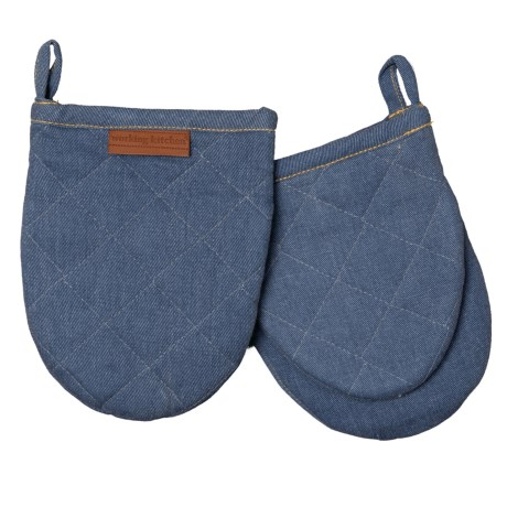 Exceptionnel Working Kitchen Solid Mini Oven Mitts   2 Pack, 5.5x7u201d In Blue