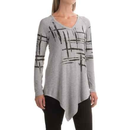 Workshop Republic Clothing Asymmetrical Hem Shirt - V-Neck, Long Sleeve (For Women) in Mist Grey Heather - Closeouts