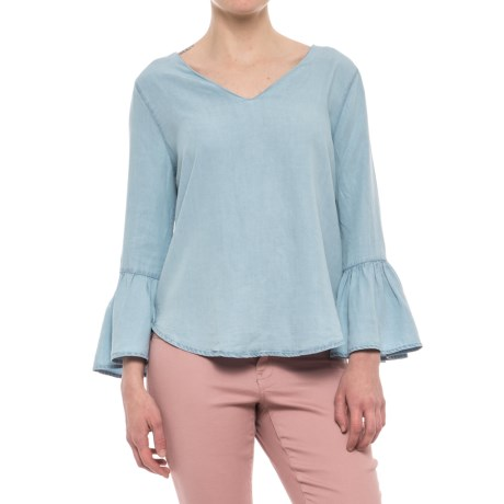 Workshop Republic Clothing Bell Sleeve TENCEL® Blouse - 3/4 Sleeve (For Women) in Washed Blue