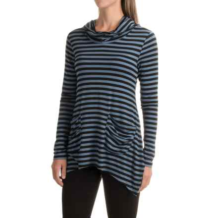 Workshop Republic Clothing Cowl Neck Hoodie (For Women) in Black/Shadow Blue - Closeouts