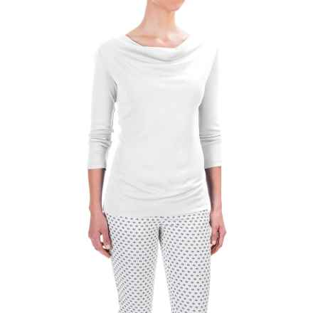 Workshop Republic Clothing Drape Neck Ribbed Shirt - Cotton-Modal, 3/4 Sleeve (For Women) in Bleach White - Closeouts