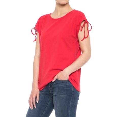 Workshop Republic Clothing Drawstring Extended-Shoulder Shirt - Short Sleeve (For Women) in Red