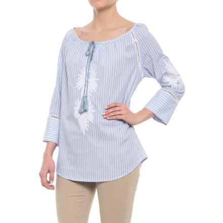 Workshop Republic Clothing Embroidered Applique Split Neck Shirt - 3/4 Sleeve (For Women) in White/Blue Stripe - Overstock