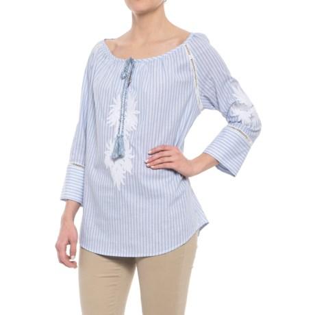 Workshop Republic Clothing Embroidered Applique Split Neck Shirt - 3/4 Sleeve (For Women) in White/Blue Stripe