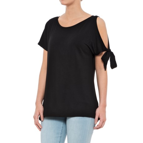 Workshop Republic Clothing French Terry Cold-Shoulder Shirt - Short Sleeve (For Women) in Black