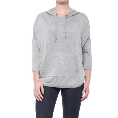 Workshop Republic Clothing French Terry Drop Shoulder Hoodie - 3/4 Sleeve (For Women) in Mist Grey Heather