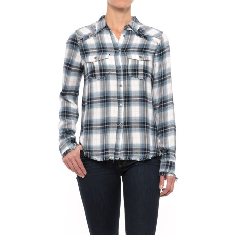 Workshop Republic Clothing Fringed Hem Plaid Shirt - Long Sleeve (For Women) in Blue/Pink Plaids