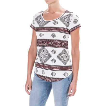 Workshop Republic Clothing Micromodal® Blend Jersey T-Shirt - Short Sleeve (For Women) in Aztec Print - Closeouts
