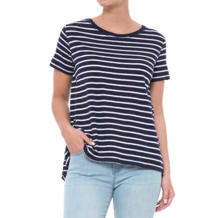Workshop Republic Clothing Pleated High-Low Shirt - Short Sleeve (For Women) in Navy Ground/White Stripe - Overstock