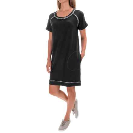 Workshop Republic Clothing Pocketed French Terry Dress - Short Sleeve (For Women) in Black - Closeouts