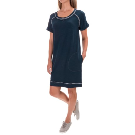Workshop Republic Clothing Pocketed French Terry Dress - Short Sleeve (For Women) in Denim