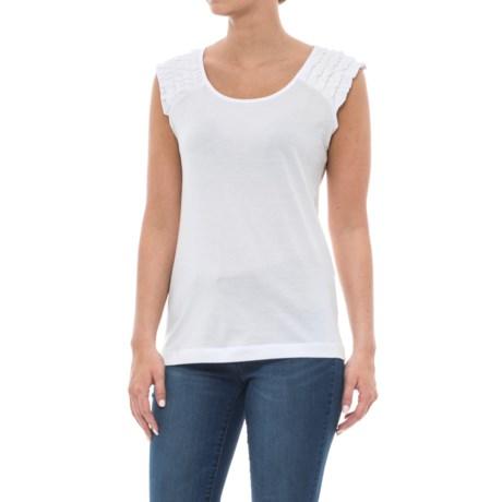 Workshop Republic Clothing Ruffle Trim Scoop Neck Shirt - Sleeveless (For Women) in Breaker White