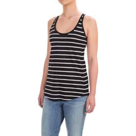 Workshop Republic Clothing Scoop Tank Top - Pima Cotton-Modal (For Women) in Black/White Stripe - Closeouts