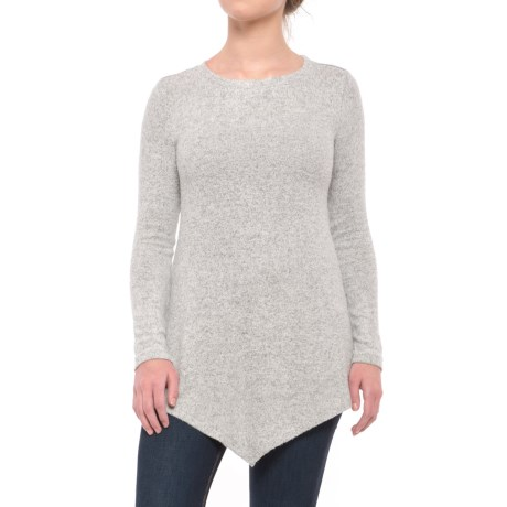 Workshop Republic Clothing Sharkbite Tunic Sweater (For Women) in Light Grey Heather