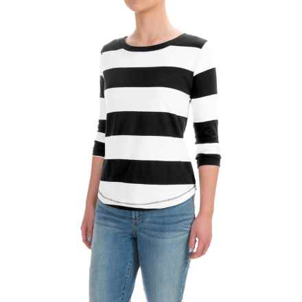 Workshop Republic Clothing Stripe Shirt - 3/4 Sleeve (For Women) in Black/White/Black Repeat Stripe - Closeouts