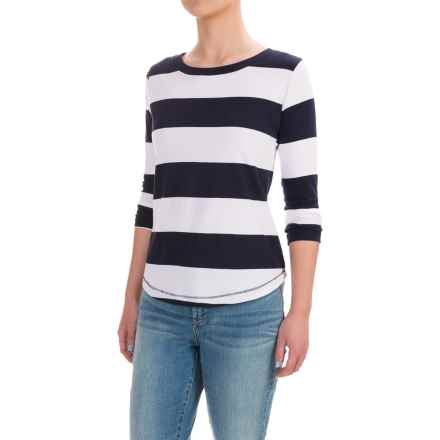 Workshop Republic Clothing Stripe Shirt - 3/4 Sleeve (For Women) in Navy/White/Navy Repeat Stripe - Closeouts
