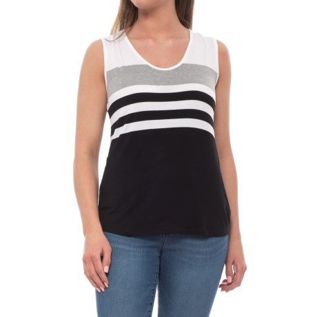 Workshop Republic Clothing Stripe Shirt - Sleeveless  (For Women) in Black/White/Heather Grey